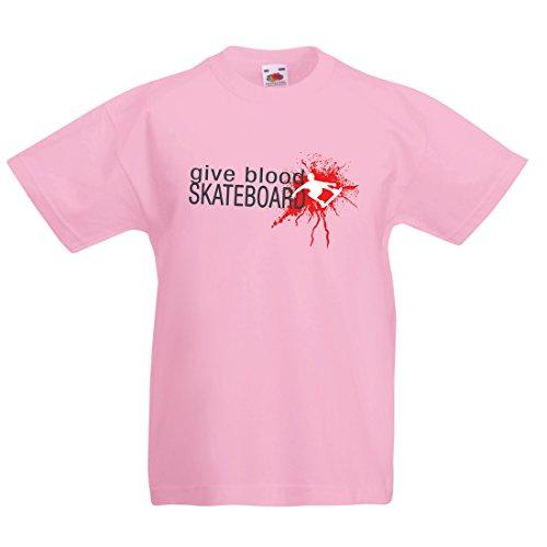 Kinder T-Shirt Gib Blut Skateboard! - lustige Skateboard Zitate, Pro Skater (9-11 Years Pink Mehrfarben)