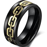 JewelryWe Schmuck Klassiker Schwarz Keramik Herren-Ring, Gold Kette Design mit Kohlenstoff Faser Inlay, Partnerringe Hochzeit Band 8mm Breite Größe 59