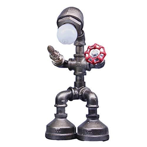 OLDJTK Lampada da Tavolo in Ferro d'Epoca a LED, Lampada da Tavolo da Cucina Robot retrò Steampunk Retro Industriale, Lampada da Tavolo da Comodino con Luce Ross