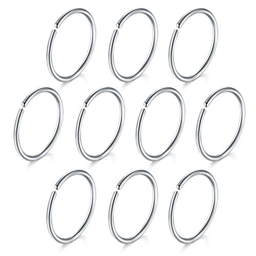 10pcs 20 8 Gauge Nose Ring Stainless Steel XNUMXmm Ring Fake Nose Lip Helix Tragus Cartilage Hoop Ring Jewelry