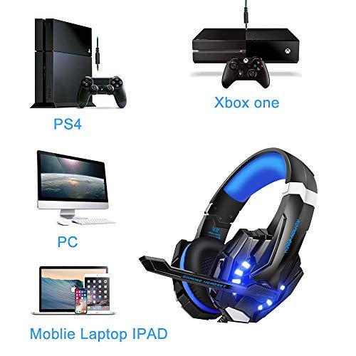VTAKOL V9 Gaming Headset für PS4, 3.5mm Surround Sound Kabelgebundenes Gaming Kopfhörer mit Mikrofon, LED-Licht, Kopfhörer für Laptop, Xbox one, PC, Smartphone - 2