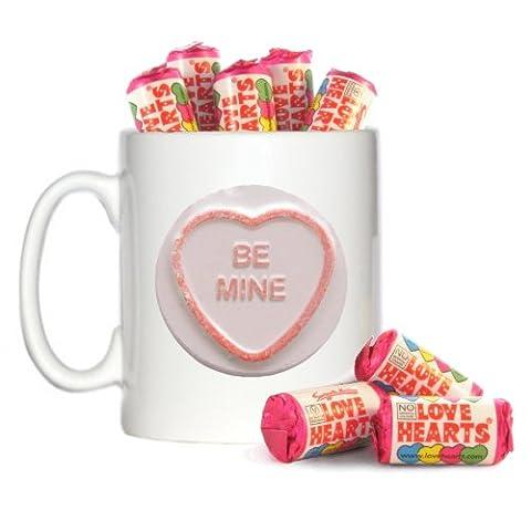 Be Mine Retro Sweet Design 10oz Mug & 8 Mini Tubes of Love Hearts