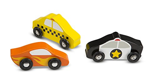 Melissa & Doug Wooden Cars Vehicle Set in Wooden Tray
