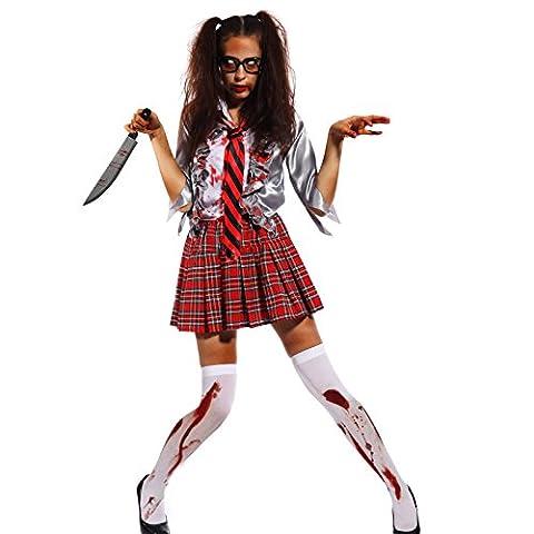 Zombie Halloween Costumes Filles - Deguisement etudiante scoliere fille 10-15 ans Costume