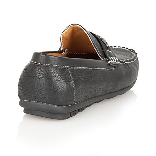 Brit-mann hommes noir lässig synthétiques low-top taille de chaussure Noir - Bleu marine