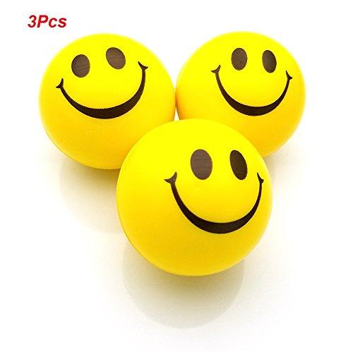 �lle, Stress Ball, Stress Relief Ball, Smiley Squeezers, Hand Übung Stress Bälle, Perfekt für die Erleichterung Stress Angst (Packung mit 3, Gelb) (Smiley-bälle)