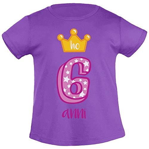 Buon Compleanno! Ho 6 Anni! Corona da Principessa T Shirt Maglietta Bambina