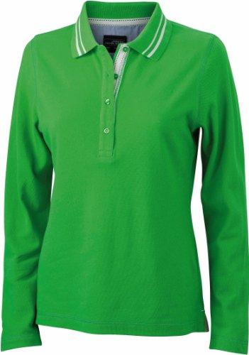 Ladies' Polo Long-Sleeved -Damen Langarm Polo mit Details green/off-white