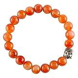 aatm Reiki energetisierte Geschenk Natur Edelstein 7–8mm Rund Beads Karneol Edelstein Perlen Buddha Chakra Stretch Armband Unisex für Heilung (Stein des selbst Motivation)