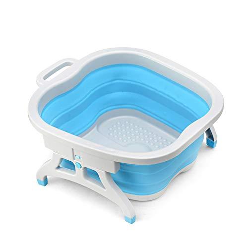 QGQG Fußwanne Eimer, Falten Eimer Container Kunststoff Fuß Badewanne Spa Faltbare Massagebecken Tragbare Waschbecken Gesundheitsbad 46,3 * 40,4 * 19 cm,Blau