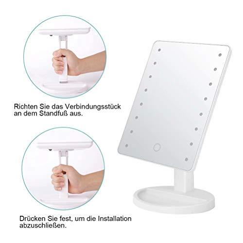 KYG Schminkspiegel mit 16 LEDs Beleuchtung, USB Wiederaufladbarer Kosmetikspiegel,  batteriebetrieber Tischspiegel, dimmbarer Make up Spiegel Standspiegel, Weiß - 6
