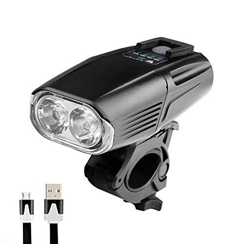HUANGS USB Wiederaufladbare Fahrradbeleuchtung, StVZO Zugelassen, Fahrradsicherheitsleuchte IP65 Wasserdicht, LED-Fahrradscheinwerfer, 3 Arten Der Zirkulation, Geeignet Für Mountainbikes, Rennräder