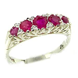 Luxury Solid Sterling Silver Natural Red Ruby Victorian Style Ring - Size K - Finger Sizes K to Z Available