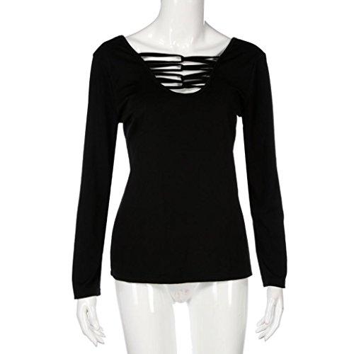 Yogogo Mode Sexy Femmes Grande Taille Tops Manche Longue V-Neck DéContractéE Bandage Chemise Chemisier Black