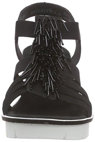Rieker 68583 Women Open Toe, Sandales Compensées femme Noir (schwarz / 00)
