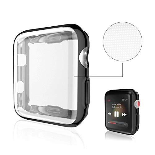 KTcos Für Apple Watch Case, TPU Displayschutzfolie Allround-Schutzhülle High Definition Clear Ultra-Thin Cover für Apple Watch Series 3 und Series 2 (42MM, Schwarz) -