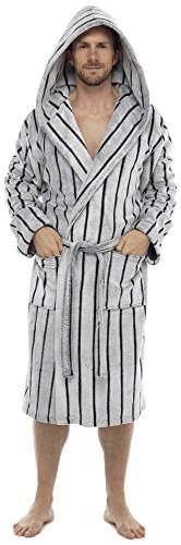 Wolf & Harte Mens Hooded Sheared Stripe Robe Dressing Gown Grey M/L