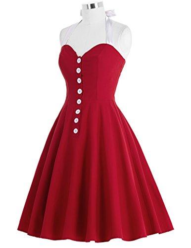 Belle Poque Damen Cocktailkleid Sommerkleid Neckholder Faltenkleid Rockabilly Kleid ZY118 BP118-3 Rot