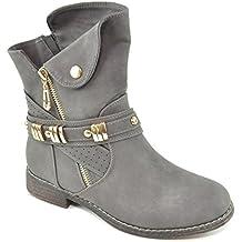 King Of Shoes Damen Stiefeletten Stiefel Schnalle Schlupf Biker Boots Nieten  Reißverschluss Blockabsatz 811 28c37ecff5