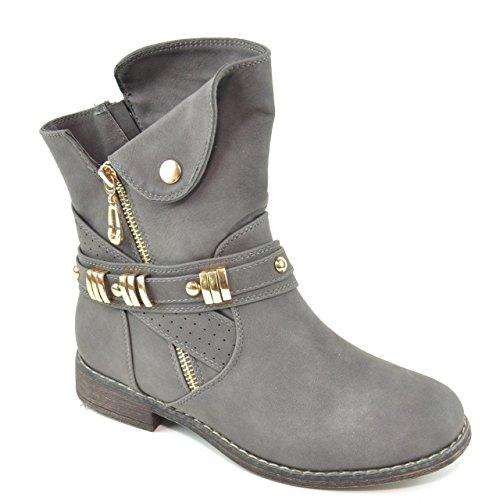 King Of Shoes Damen Stiefeletten Stiefel Schnalle Schlupf Biker Boots Nieten Reißverschluss Blockabsatz 811 (39, Grau)