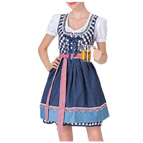 Oktoberfest Kostüm für Damen Bierfest Gitter Kleid Anzug Trachtenkleid Dirndl Tavern Maid Dress Traditionelle Kleidung karnevalskostüme Cosplay Weihnachtsfeier Kleider ZHANSANFM (M, Blau)