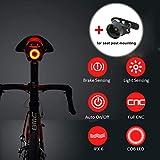Bresuve USB Rechargeable Vélo Queue Lumière, LED Vélo Arrière Lumière Automatique Marche/arrêt, Frein Induction, IPX6 étanche, Rouge Haute intensité LED Vélo lumière avec Support de Tige de Selle