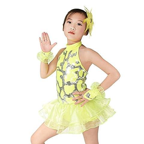 MiDee Tanz Kostüme Ballett Kleid Für Mädchen Schulterfreien Pailletten Kleidung (Gelb, PA) (Freestyle Disco-tanz Kostüme)