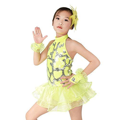 MiDee Tanz Kostüme Ballett Kleid Für Mädchen Schulterfreien Pailletten Kleidung (Gelb, XSC) (Hip Hop Street Dance Kostüme)