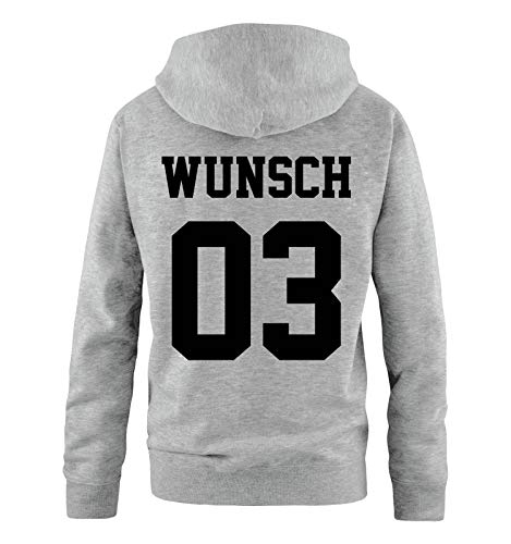 Comedy Shirts - Wunsch - Herren Hoodie - Grau/Schwarz - Gr. M