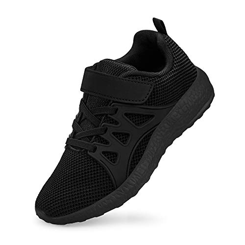 QANSI Kinder Sportschuhe Mädchen Junge Atmungsaktiv Sneaker Laufschuhe Schwarz 33 EU