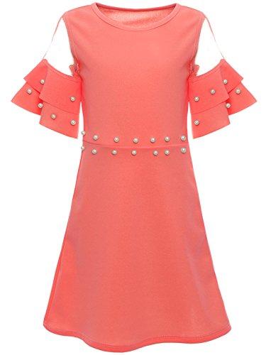 BEZLIT Mädchen Sommer Kleid Kunst-Perlen Prinzessin Fest Spitze Outfit 22602, Farbe:Lachs, Größe:140 (Mädchen-designer-kleidung)