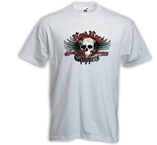 Biker T-Shirt Road Rage weiß Motorcycle USA Rebel Skull Chopper Weiß