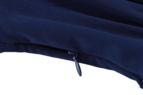 ACEVOG Damen Retro Vintage Abendkleid Partykleid Businesskleid Rollkragen A-Line Ärmellos Dunkelblau
