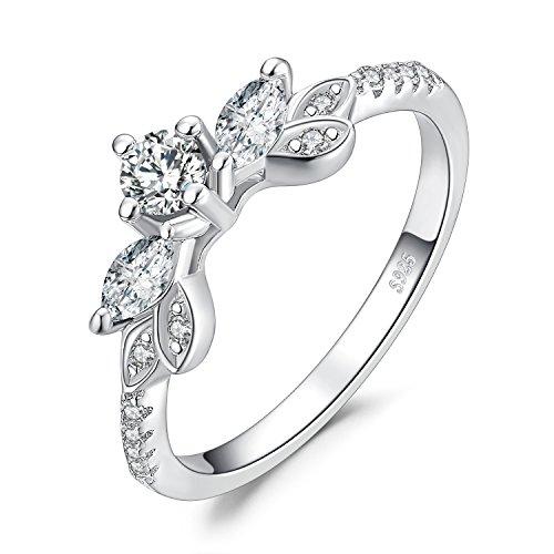 Jewelrypalace Foglia 0.9ct Zirconi Anniversario Di Promessa Di Nozze Anello Di Fidanzamento Enhancer Argento 925