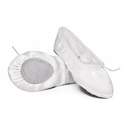 Ballettschuhe Mädchen Tanzschuhe ballettschläppchen Damen Bequem Spitzenschuhe Kinder Weiß 35 - 2