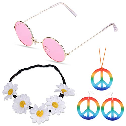 Nabance 5 Pcs Adult Hippie Costu...