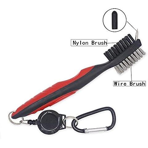 JZHY leggero 2 Ft retrattile Golf Club Spazzola e Groove Cleaner con zip-line moschettone in alluminio -Rosso