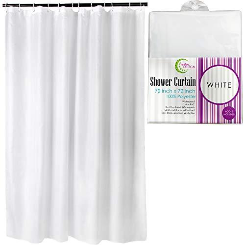 Tenda per doccia, resistente alla muffa, impermeabile, antiodore, ecologica, antibatterica, con occhielli in metallo massiccio, in tessutodi poliestere, colore bianco,182,9 cmx 182,9cm