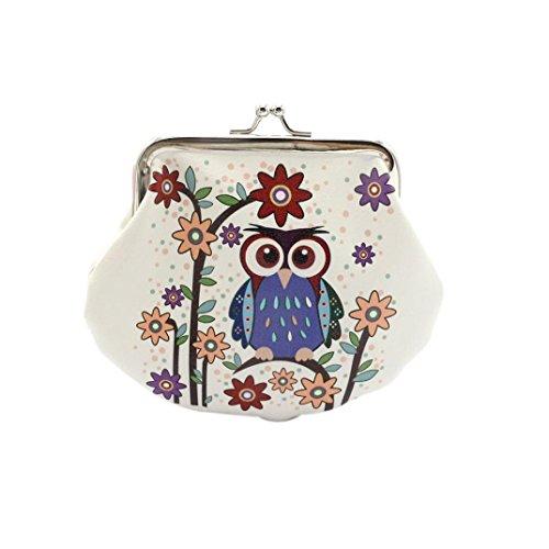 Ularma Damen Geldbörse Vintage PU Leder Brieftasche Eule Handtasche Mini Tasche (C)