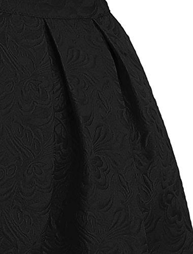 Allegra K Damen hoch Taille Blumen Glockenrock Freizeit Voll Kleid A Linie Skirt -
