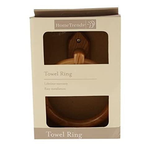 Ardisle Bamboo Wood Wall Mounted Towel Ring Holder Bathroom Wooden Kitchen Bath Cloth