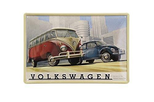VW Bulli und Käfer Blechschild mit Hochwertigem Prägedruck - KUKBB9539