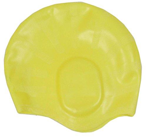 Reines Silikon-Ohrkappe Badekappe Unisex Wasserdichte Rutschfeste Zwei Spa-Badekappe Installiert,Yellow