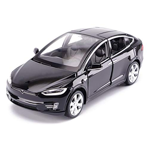 LBYMYB Modellauto Tesla X Geländewagen 1:32 Simulation Druckgusslegierung Spielzeugauto-Modell Dekoration 15x5.5x4.5CM (Farbe : Schwarz)