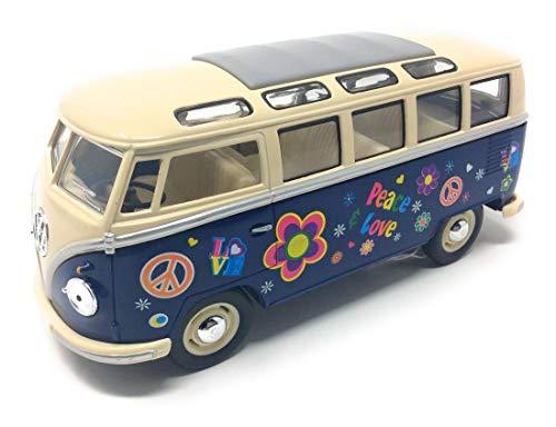 CBK-MS. Modellauto T1 Samba Bus Flower Power 1962 blau / beige Bulli 1:24 -
