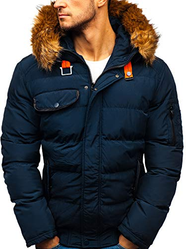 BOLF Herren Winterjacke Steppjacke Sportjacke Reißverschluss Casual Style Nature 5287 Dunkelblau L [4D4]