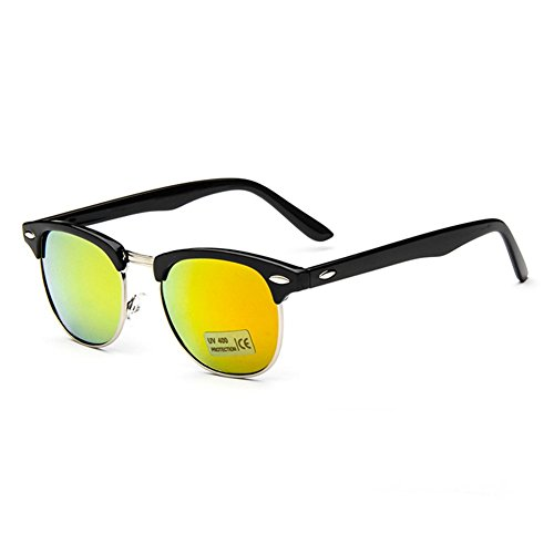 Z-P Vintage Wayfarer Metal Reflective UV400 Color Film Sunglasses 50MM