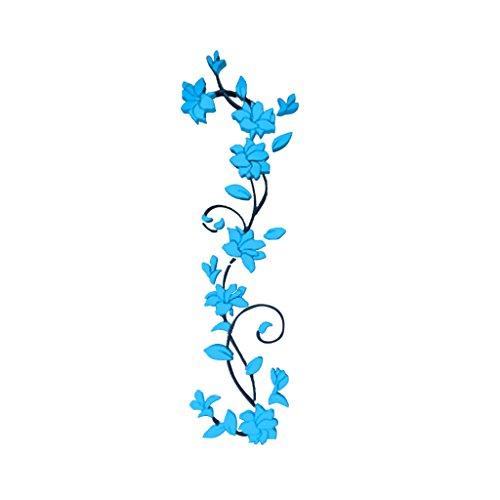 Magideal 3d fiore murali adesivi arte decalcomania rimovibile parete decorazione casa - blu