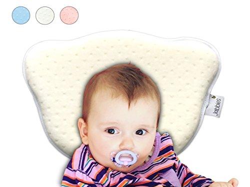 Jabbies | Orthopädisches Babykissen | Vorbeugung von Plagiozephalie (Schiefschädel-Kopfform & Verformung) | Babykopfkissen gegen Plattkopf | atmungsaktiv & weich mit Memory Foam | SGS zertifiziert (Weiß)
