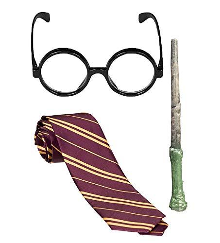 Islander Fashions Kinder Schule Spiel Magier Set Wizard Brille Maroon Yellow Strip Tie Zauberstab Set Magician Set